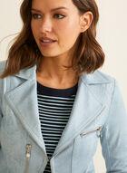 Vex - Zipper Detail Faux Leather Blazer, Blue