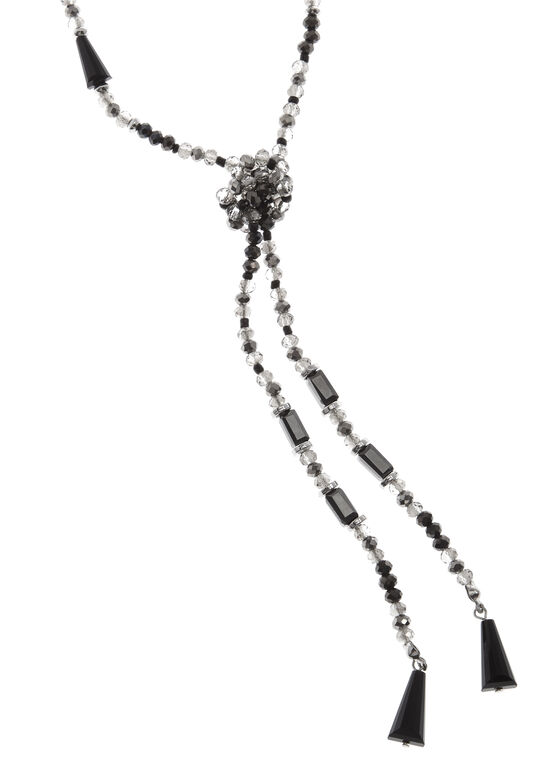 Glass Bead Dangle Necklace, Black, hi-res