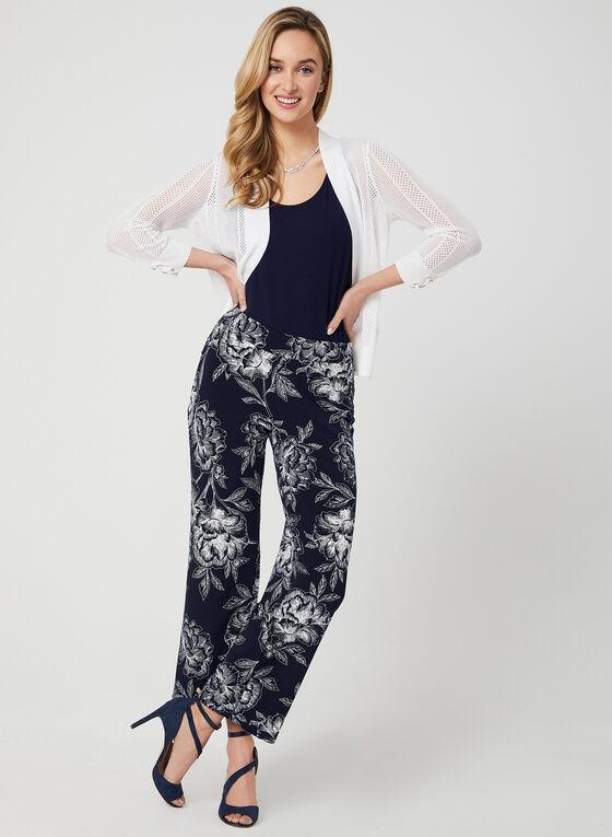 Pantalon à jambe large et imprimé floral, Bleu