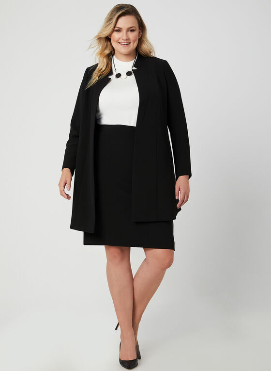 Notch Collar Redingote Jacket, Black
