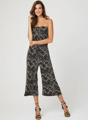 Abstract Print Jersey Jumpsuit, Black, hi-res