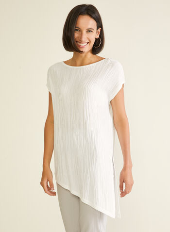Short Sleeve Asymmetric Top, White,  sweater, short sleeves, asymmetric, textured, spring summer 2020