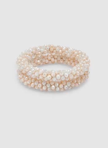 Bracelet extensible en perles, Blanc cassé, hi-res