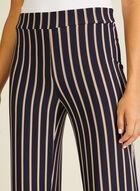 Stripe Print Wide Leg Pants, Blue
