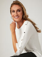 ¾ Sleeve Top , Off White, hi-res