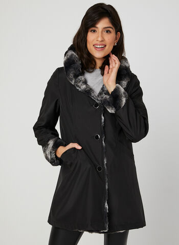 Reversible Trench Coat, Black, hi-res