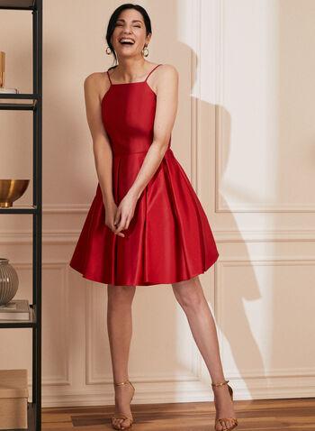 Robe courte satinée à jupe bouffante, Rouge,  printemps été 2021, robe, robe courte, robe de soirée, occasion, satin, sans manches, bretelles, bouffante, crinoline