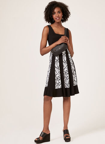 Vertical Stripe Print Dress, Black, hi-res