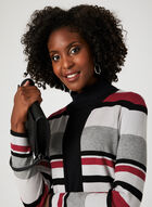 Cardigan en tricot ouvert à rayures , Noir, hi-res