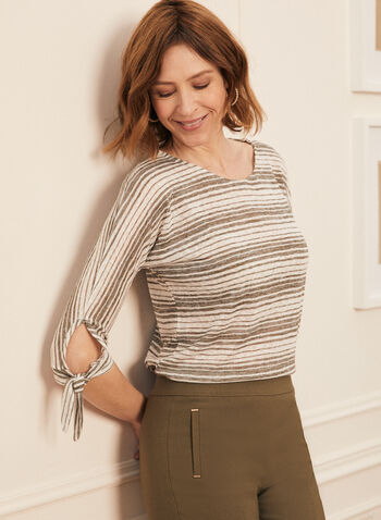 Stripe Print Knot Detail Tee, Green,  t-shirt, dolman sleeve, stripe print, knot, linen, boat neck, spring summer 2020