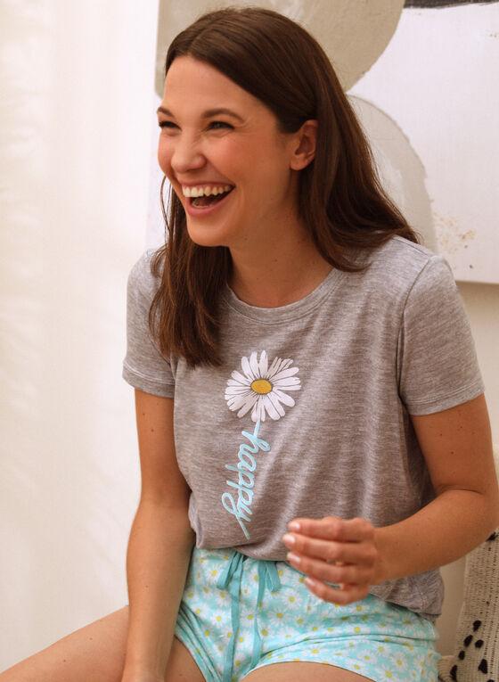 Daisy Print Pyjama Set, Grey