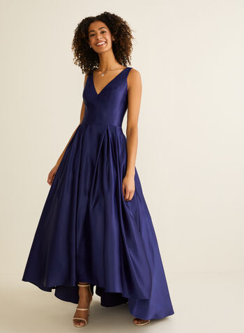 Satin High Low Ball Gown, Blue,  prom dress, ball gown, v-neck, sleeveless, high low, satin, pockets, crinoline, spring summer 2020