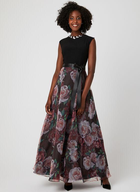 Robe fleurie en organza et ruban, Noir, hi-res