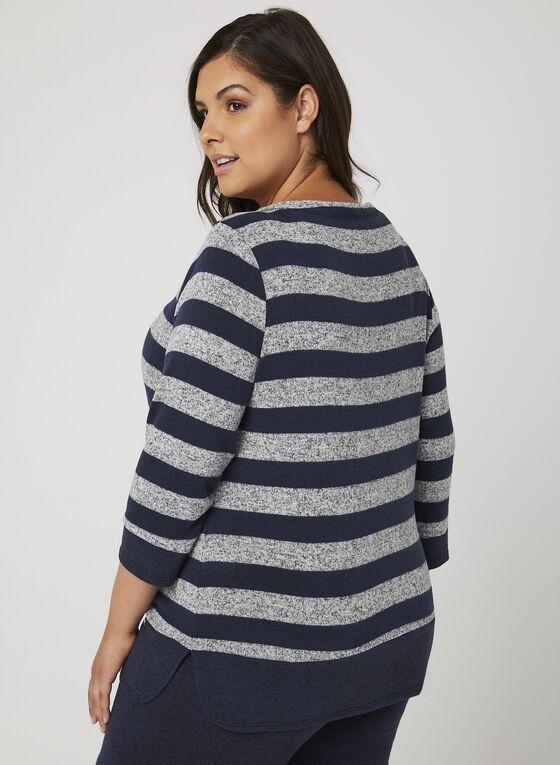 Haut à rayures en tricot doux, Bleu, hi-res