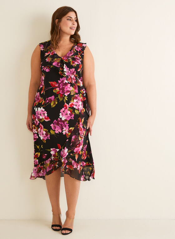Floral Print Ruffle Dress, Black