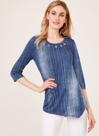 Grommet Detail Jersey Tunic, Blue, hi-res