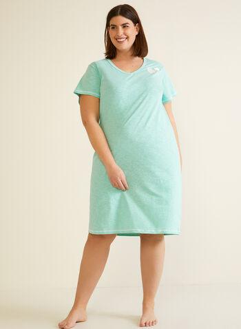 Robe de nuit à coutures contrastantes, Bleu,  automne hiver 2020, robe de nuit, pyjama