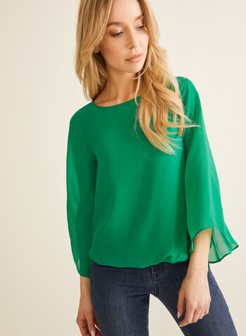 Chiffon Popover Blouse, Green,  chiffon top, chiffon blouse, blouse, top, angel sleeves, 3/4 sleeves, spring 2020, summer 2020