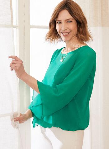 Haut en mousseline à manches ange, Vert,  printemps été 2020, haut, blouse, manches ange, manches 3/4, manches longues, mousseline