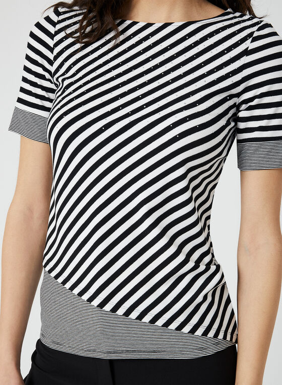 T-shirt à rayures multiples et cristaux, Noir