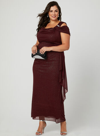 Cold Shoulder Glitter Dress, Red, hi-res