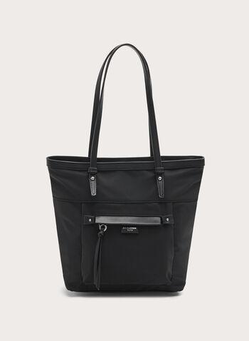 David Jones Paris - Faux Leather Trim Polyester Satchel, Black, hi-res