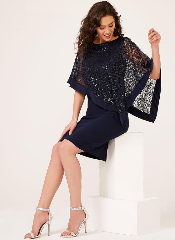 Sequin Lace Poncho Dress, Blue, hi-res