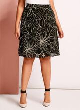 Jupe midi trapèze motif floral, Noir, hi-res