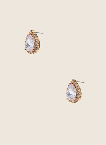 Teardrop Faceted Stud Earrings, Gold,  earrings, studs, teardrop, faceted, crystals, golden, spring summer 2020