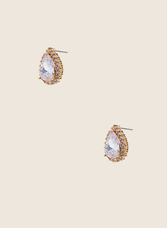 Teardrop Faceted Stud Earrings, Gold