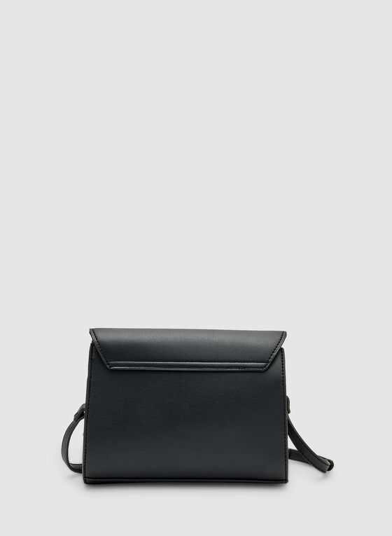 Stripe Print Crossbody Bag, Black