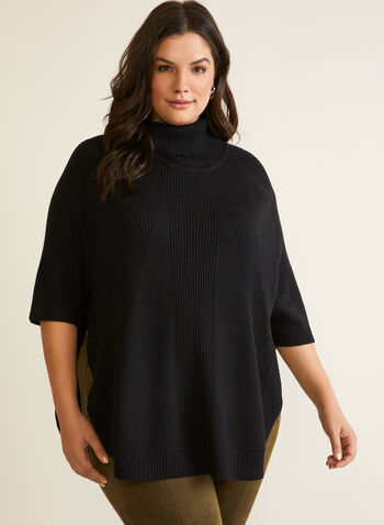 Rib Knit Detail Poncho Sweater, Black,  top, knit, sweater, rib knit, turtleneck, poncho, 3/4 sleeves, fall winter 2020