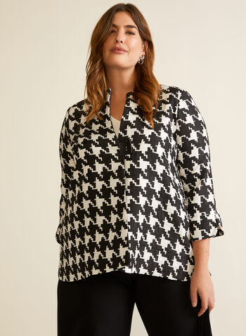 Joseph Ribkoff - Houndstooth Print Jacket, Black,  fall winter 2020, made in canada, jacket, 3/4 sleeves, houndstooth, Joseph Ribkoff