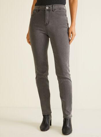 Jeans essentiel à jambe droite, Gris,  automne hiver 2020, jeans, denim, jambe droite, essentiel, poches, taille mi-haute, poches, ganses