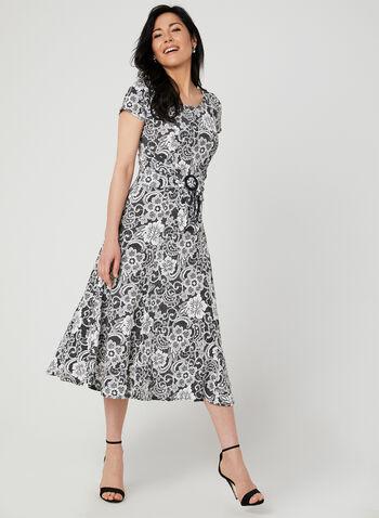 Perceptions - Robe à imprimé dentelle, Argent,  robe midi, jersey, floral, fleurs, ajustée et évasée, ceintrée, printemps été 2019