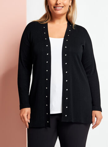 Long Sleeve Studded Edge Cardigan, , hi-res