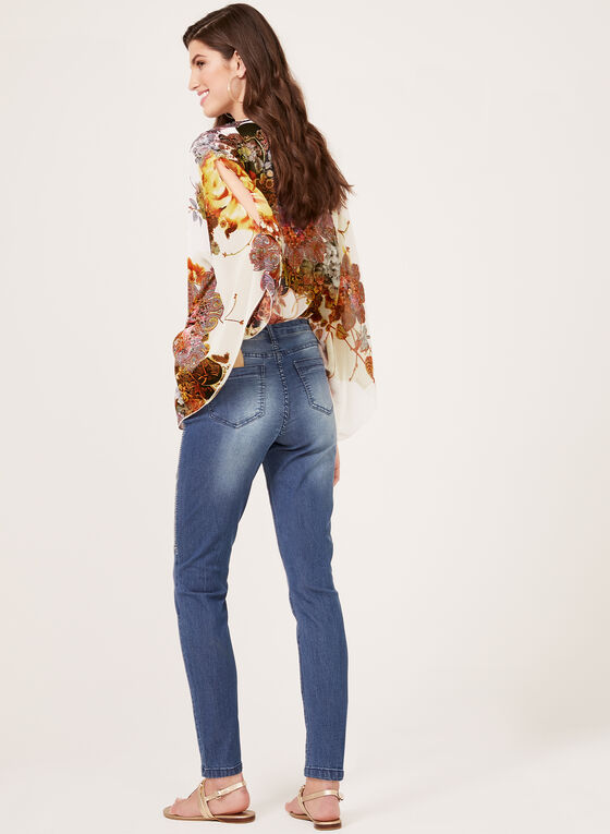 Jean coupe moderne à strass et perles, Bleu, hi-res
