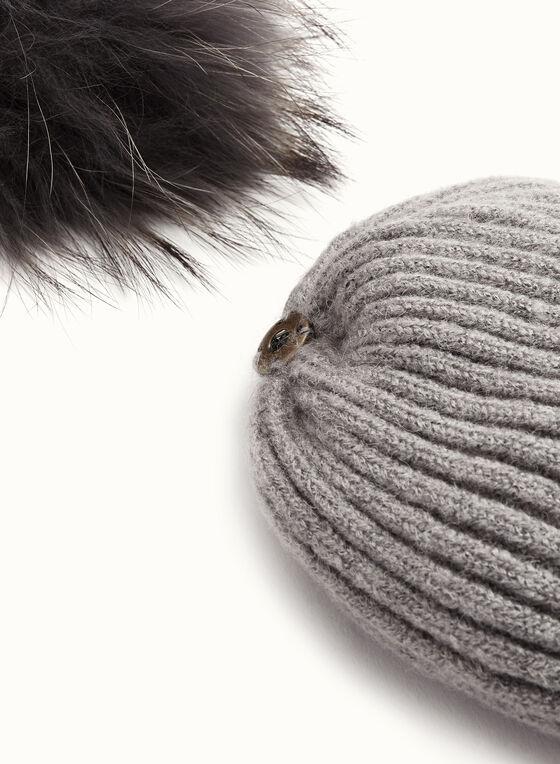 Tuque tricotée avec pompon en fourrure, Gris, hi-res