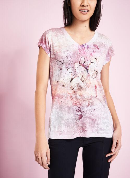 T-shirt fleurs et papillons, Rouge, hi-res