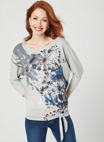 Abstract Print Dolman Sleeve T-Shirt, Grey, hi-res