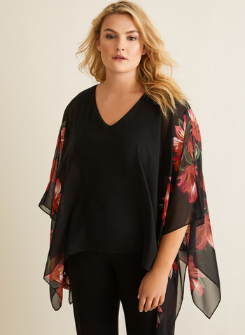 Joseph Ribkoff - Floral Detail Poncho Blouse, Black,  top, blouse, poncho, chiffon, jersey, floral, v-neck, spring summer 2020