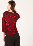 Sheer Flocked Top , Red, hi-res