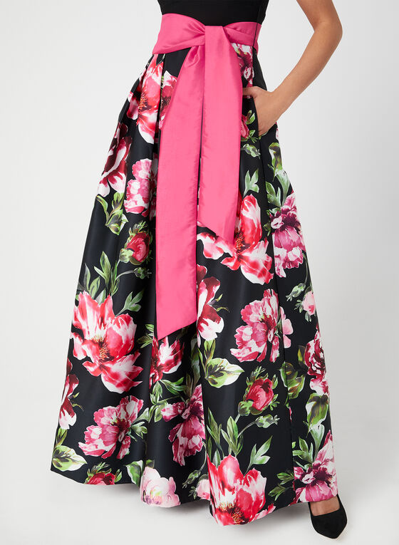Robe à col V et jupe fleurie satinée, Noir, hi-res