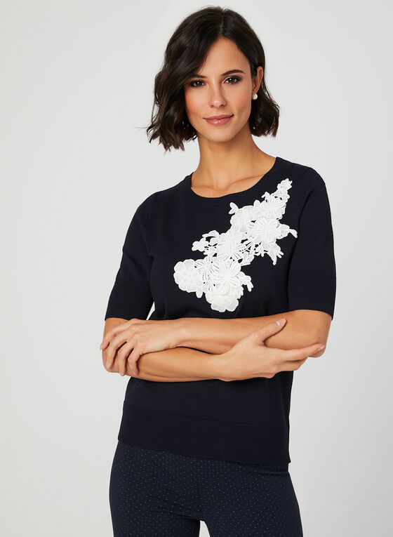 Floral Appliqués Knit Top, Blue, hi-res