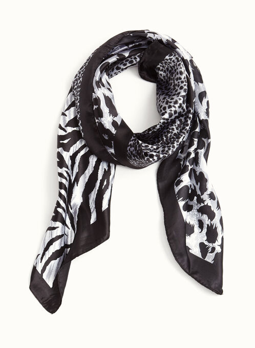 Animal Print Square Scarf, Grey, hi-res