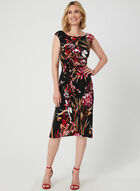 Floral Print Faux Wrap Dress, Purple, hi-res
