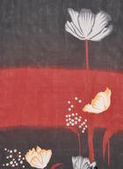 Foulard à dégradé contrastant et fleurs, Rouge, hi-res