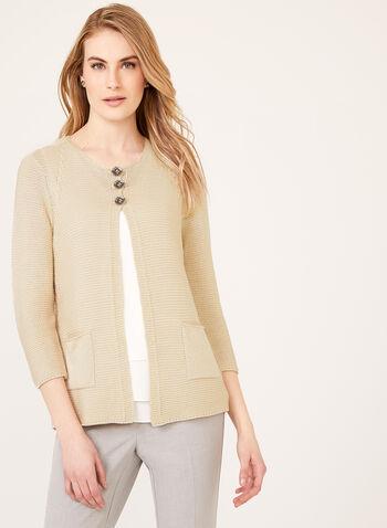 Alison Sheri - Cardigan tricot 3 boutons, Gris, hi-res