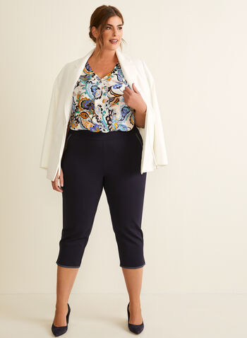 Contrast Stitch Capri Pants, Blue,  pants, capri, pull-on, stretchy, ponte de roma, grosgrain, topstitch, contrast, spring summer 2020