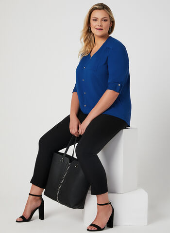 ¾ Sleeve Faux Button Top, Blue, hi-res